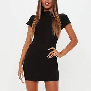 Missguided Cap Sleeve Mock Neck Mini Dress